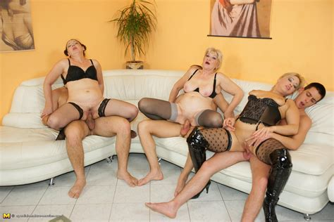 Orgy Moms In Stockings And Lingerie Getting Drilled And