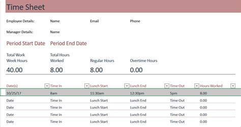 timesheet template  track  hours