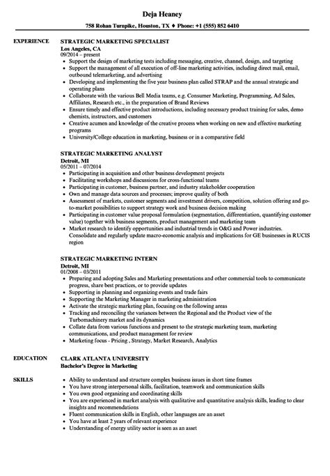 strategic marketing resume sles velvet