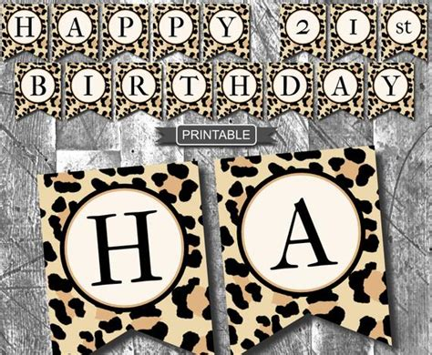 leopard print cheetah print birthday party decoration banner