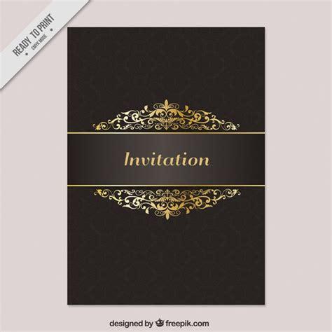 zwart en gouden luxe uitnodiging vector gratis