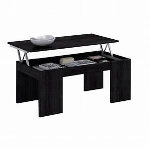 Table Basse Noir : table basse relevable noir table de lit ~ Teatrodelosmanantiales.com Idées de Décoration