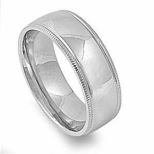 milgrain men39s wedding band high polish ring new 316l With size 14 mens wedding rings