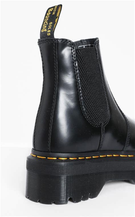 dr martens  quad chelsea boots  black showpo