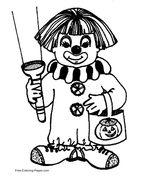 halloween coloring sheets clown costume