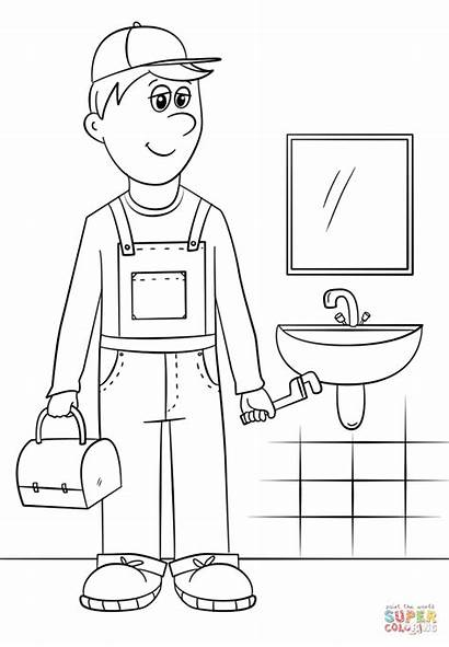 Coloring Plumber Pages Community Helpers Printable Dot