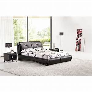 Queen Size Low Bed Frame in Black PU Leather | Buy Queen ...