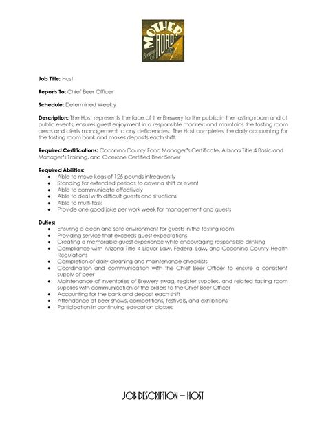 Host Description Resume by Work For Road Road Brewing Company