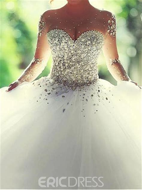 ericdress illusion neck beading wedding dress  long