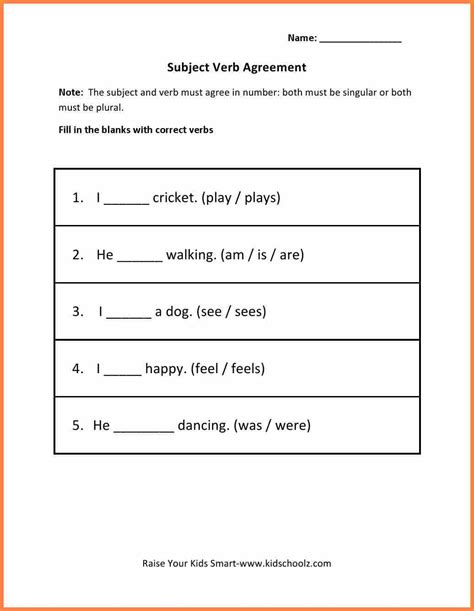 Worksheet Subject Verb Agreement Worksheet Grass Fedjp