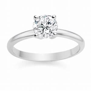 platinum engagement ring with 07ct round diamond i si1 With circle wedding rings