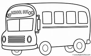 School Bus (Side) with Theme - Coloring Page (Back to School)