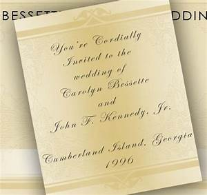 John jr and carolyn39s wedding invitation john kennedy jr for Wedding invitation with jr