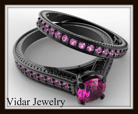 Black Gold Bridal Ring Set