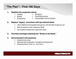 healthsouth lessons learned With first 100 days plan template