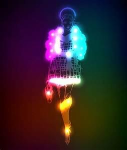 Neon light girl design vector graphic Free vector in