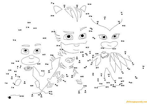 Pj Masks Connect The Dots Coloring Page