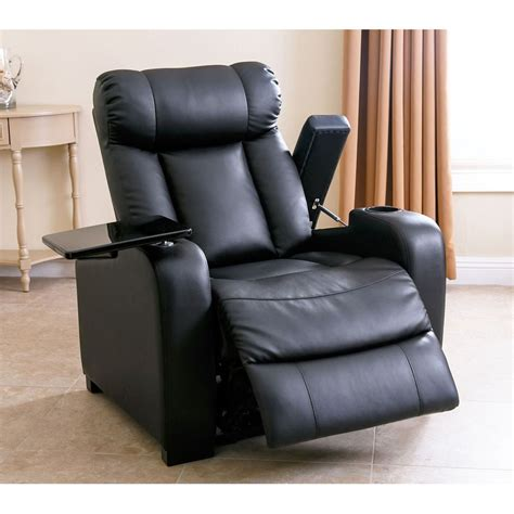 luxurious power recliner black bonded leather chair home