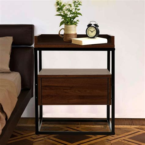 walnut brock industrial style bedside table temple webster