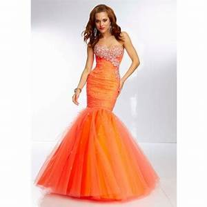 Fitted Mermaid Sweetheart Long Bright Orange Tulle Beaded