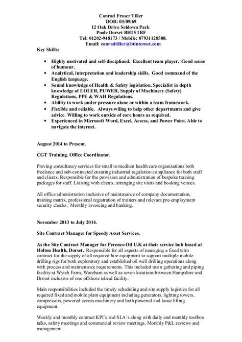 Employment History Vs Resume by Conrad Fraser Tiller Cv Oct 2014 Inc Of Work