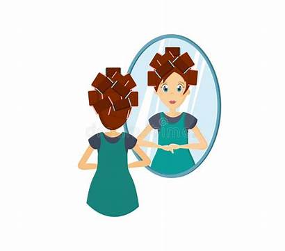 Mirror Cartoon Standing Doing Woman Character Hairstyle