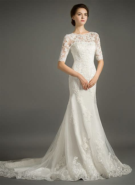 feminine mermaid high neck sweep train tulle wedding dress