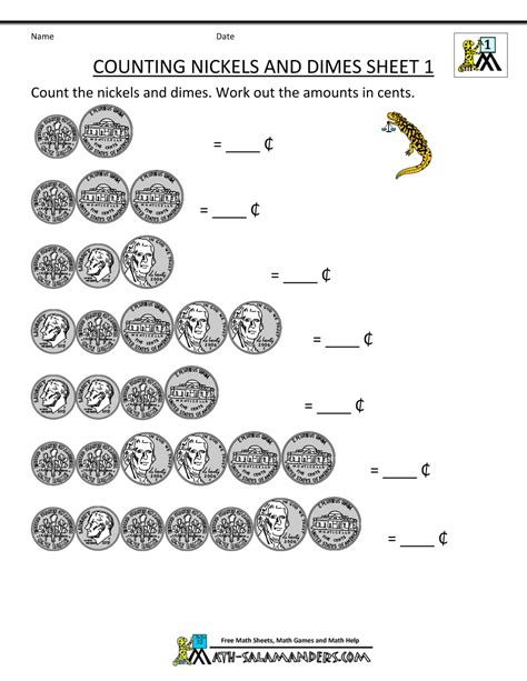 free math money worksheet counting nickels and dimes 1 gif