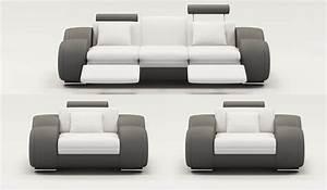 Canapé 1 Place : deco in paris ensemble canape cuir relax oslo 3 1 1 places blanc et gris oslo 311 blanc gris ~ Teatrodelosmanantiales.com Idées de Décoration