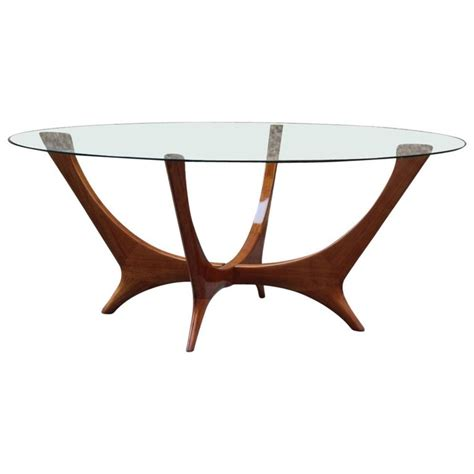 Each piece is a conversation piece! Italian Coffee Table Round Cherry Wood Glass Top Mid ...