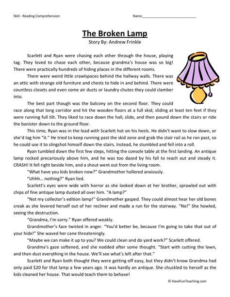 Reading Comprehension Worksheet  The Broken Lamp