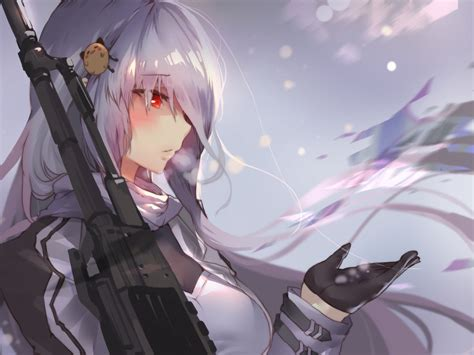 desktop wallpaper girls frontline white hair anime girl
