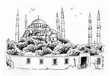 Sultan Boyama Ahmet Mosque Coloring Cami Istanbul Resmi Camii Sketch Resim Template Drawings Cizimi Drawing Turkey sketch template