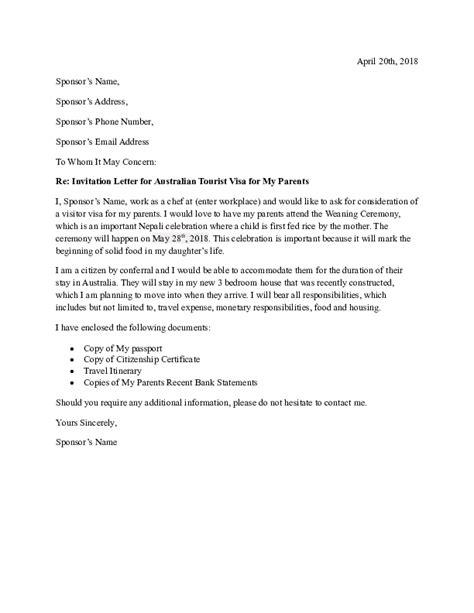 (DOC) Re: Invitation Letter for Australian Tourist Visa