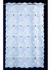 Brise Bise Au Metre : voilage brise bise en tamine brod e floral blanc ~ Dailycaller-alerts.com Idées de Décoration