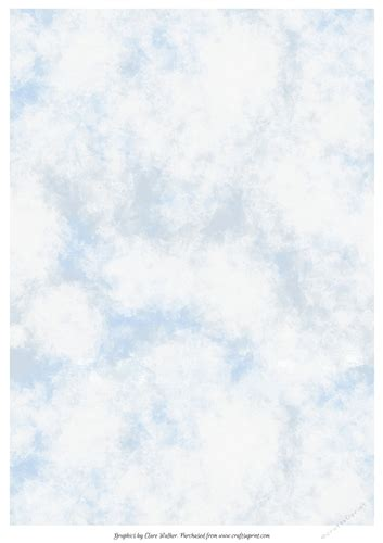 PAINTED BLUE SKY & WHITE CLOUDS: A4 Background/Backing