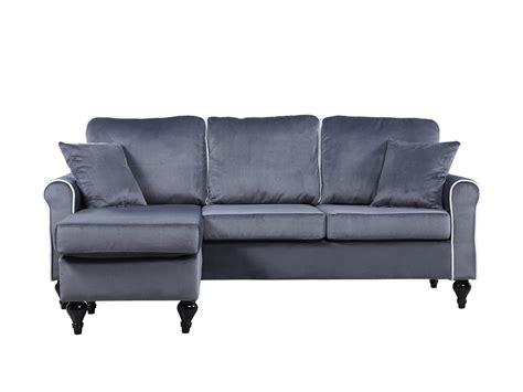 small chaise lounge sofa traditional small space grey velvet sectional sofa with