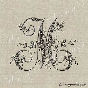 antique french monogram letter m instant download digital With embroidery letter transfers