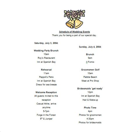 Wedding Day Schedule Of Events Template by Event Schedule Templates 14 Free Sle Exle Format