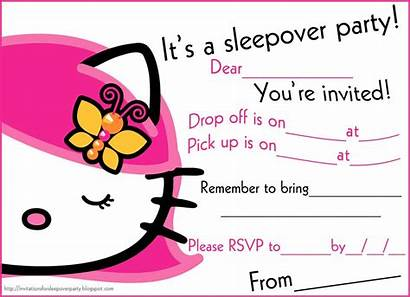 Sleepover Invitations Party Kitty Printable Hello Slumber