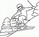 Coloring Skiing Popular Winter sketch template