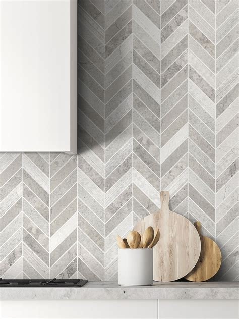 gray modern limestone chevron backsplash tile backsplashcom