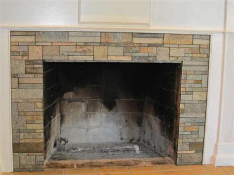 Tile over brick fireplace photos