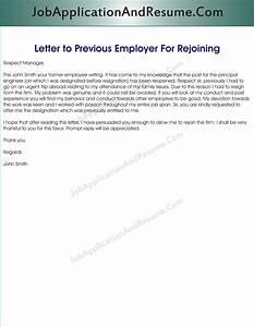 Sample Letter to Rejoin the Job JAAR Head Hunters