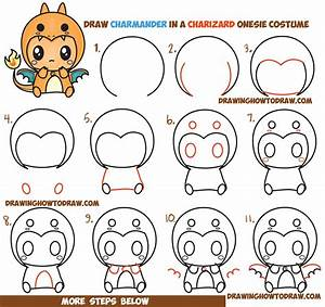 How to Draw Charmander Wearing a Charizard Costume Onesie ...