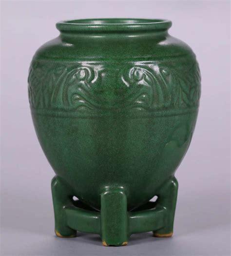 Green Vase by Weller Matte Green Vase On Footed Base California