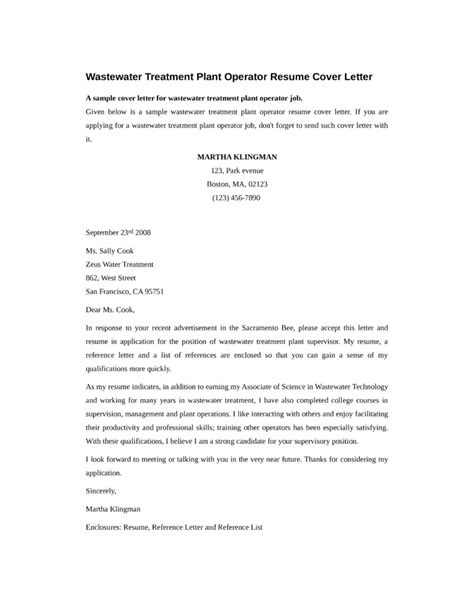 Wastewater Treatment Resume by Wastewater Treatment Plant Operator Cover Letter Sles And Templates