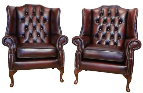 2 X Chesterfield Flat Wing Queen Anne High Back Chairs