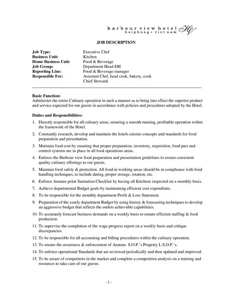 chef description uk cooking description resume