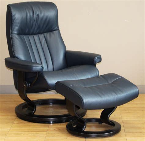 human touch chair stressless crown cori blue leather recliner chair